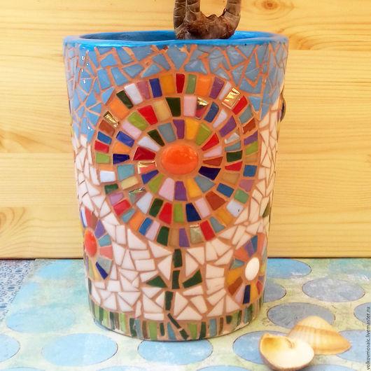 Вазы ручной работы. Ярмарка Мастеров - ручная работа. Купить Кашпо с цветочным мотивом. Handmade. Комбинированный, кашпо для цветов