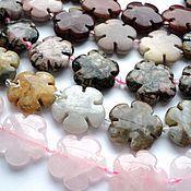 Материалы для творчества handmade. Livemaster - original item Rhodonite Jasper Rose quartz beads flowers, 20mm. Handmade.