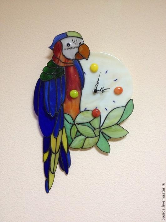 """Часы для дома ручной работы. Ярмарка Мастеров - ручная работа. Купить Часы """"Кешенька"""" тиффани. Handmade. Попугай, попугайчик"""