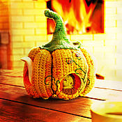 Посуда handmade. Livemaster - original item Cover hot water bottle for kettle Pumpkin house. Handmade.