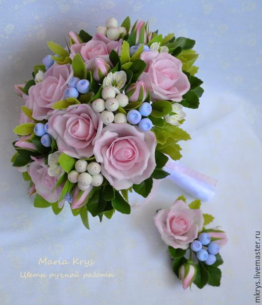 Букеты ручной работы. Ярмарка Мастеров - ручная работа. Купить Букет невесты. Handmade. Бледно-розовый, розы, Модена софт