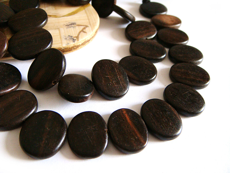 Beads black Ebony oval 14h18mm, Beads1, Bryansk,  Фото №1