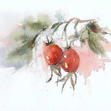 """Картины и панно ручной работы. Ярмарка Мастеров - ручная работа """"Осенний шиповник"""" акварель (осень, красный, зеленый). Handmade."""