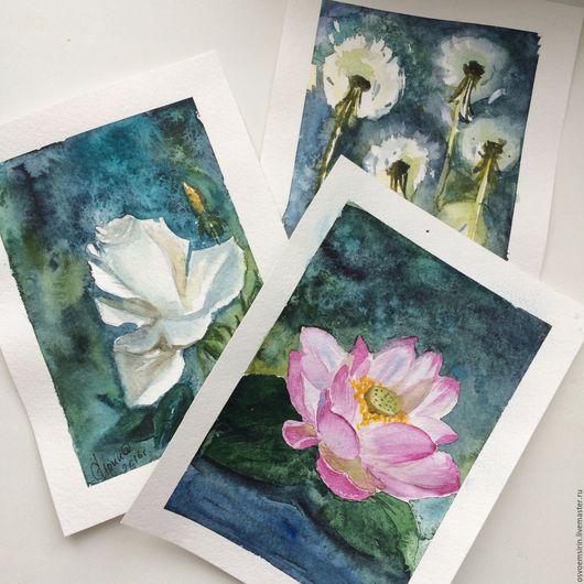 Картины цветов ручной работы. Ярмарка Мастеров - ручная работа. Купить Открытки Акварелью. Handmade. Цветы, открытка, тёмно-зелёный