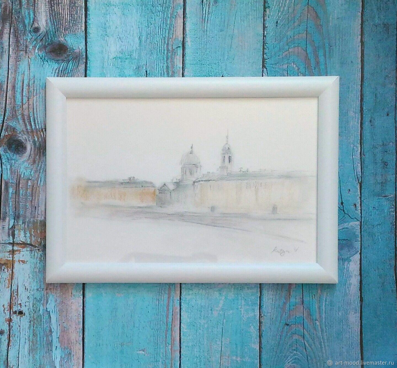 Картина с видом Петербурга. Купить городской пейзаж углем, Картины, Санкт-Петербург,  Фото №1