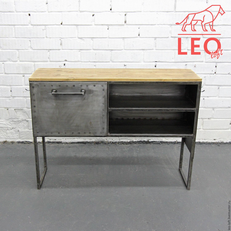 Консоль рабочая в стиле лофт. Стол рабочий лофт от производителя в Москве. Leo loft