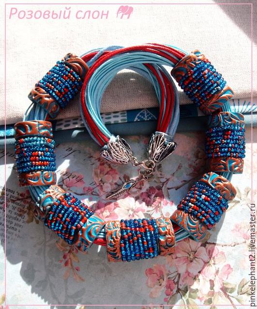 """Колье, бусы ручной работы. Ярмарка Мастеров - ручная работа. Купить Колье """"Голубое озеро Красной пещеры"""". Handmade. Голубой"""
