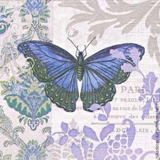 Декупаж и роспись ручной работы. Ярмарка Мастеров - ручная работа. Купить Винтажная бабочка (007727) - салфетка для декупажа. Handmade. Разноцветный
