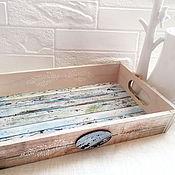 Для дома и интерьера handmade. Livemaster - original item Large tray of Morning. Sea. Porch. Coffee.. Handmade.