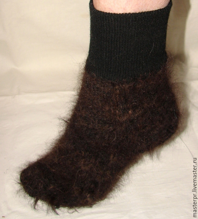 Socks cashmere art. No. №43 of dog hair . Manual spinning .Hand knitting. Socks are this