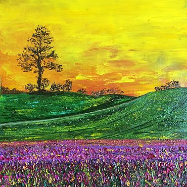Картины и панно ручной работы. Ярмарка Мастеров - ручная работа Картина маслом Долина цветов. Handmade.