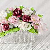 """Свадебный салон ручной работы. Ярмарка Мастеров - ручная работа гребень """"Брусничная роза"""" розово-бордовое цветочный гребень невесты. Handmade."""