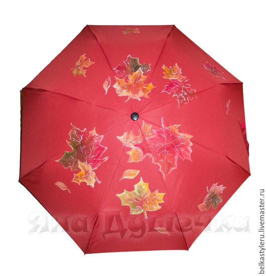 """Зонты ручной работы. Ярмарка Мастеров - ручная работа. Купить Зонт с ручной росписью """"Осенние листья"""". Handmade. Зонт"""
