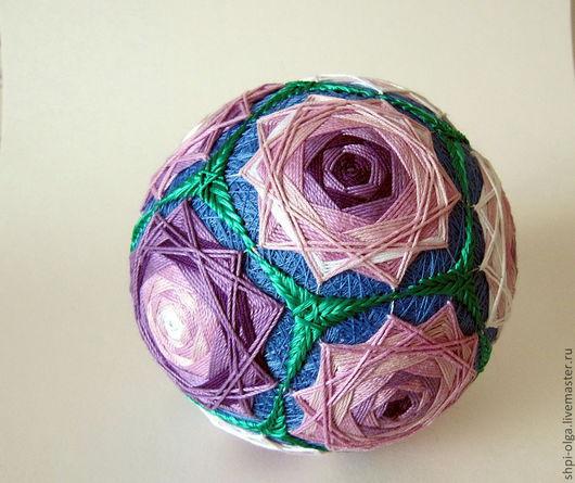 """Темари ручной работы. Ярмарка Мастеров - ручная работа. Купить темари """"Розовые розы"""". Handmade. Розовый, японский стиль, шар"""