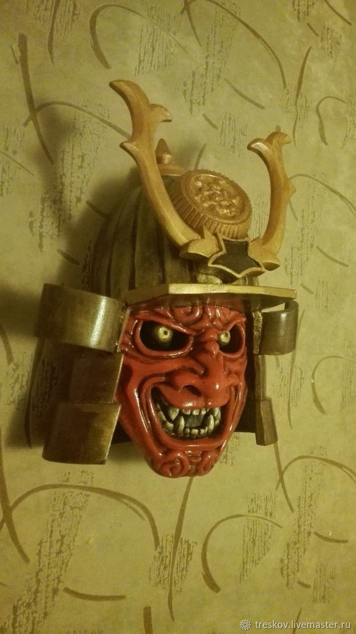 Wooden wall mask of a samurai – shop online on Livemaster with ...