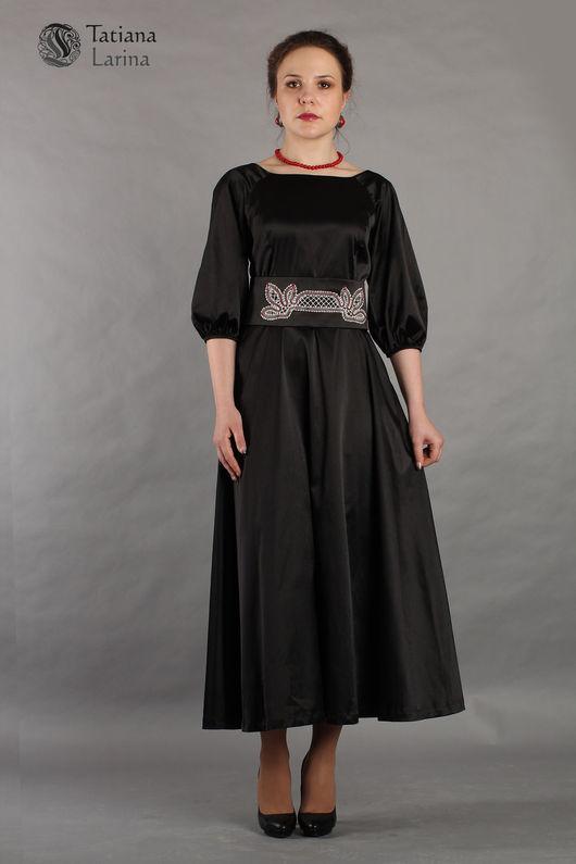 Нарядное платье в пол. Черное платье с вологодскими кружевами. Красивое платье для вечера. Длинное платье на последний звонок, выпускной, торжество, поход в театр. Купить платье для девушки нарядное.