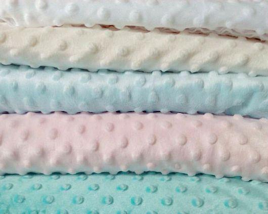 Шитье ручной работы. Ярмарка Мастеров - ручная работа. Купить Плюш minky dots : розовый, молочный, голубой. Ширина 180см. Handmade.