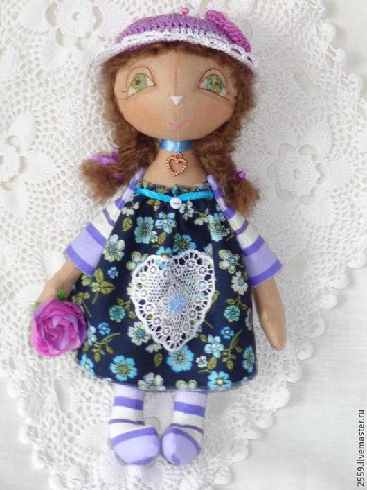 Коллекционные куклы ручной работы. Ярмарка Мастеров - ручная работа. Купить Малышка Черничка. Handmade. Разноцветный, подарок, атласные ленты