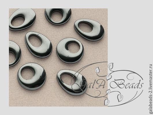 Для украшений ручной работы. Ярмарка Мастеров - ручная работа. Купить Гематит подвеска кулон - кольцо, капля.  485. Handmade.