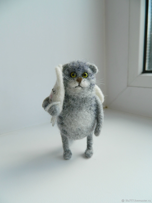 Scottish cat lop-eared 'angel' with a Bunny, Stuffed Toys, Ufa,  Фото №1