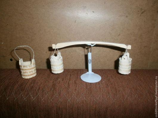 Миниатюра ручной работы. Ярмарка Мастеров - ручная работа. Купить коромысло с вёдрами. Handmade. Белый, коромысло для куклы, Дерево натуральное
