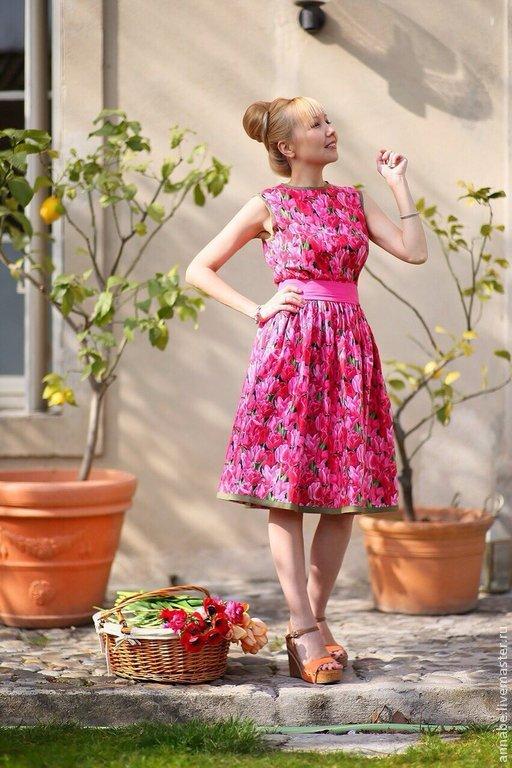 Платья ручной работы. Ярмарка Мастеров - ручная работа. Купить Платье Пышный тюльпан Хлопок 100%. Handmade. Платье