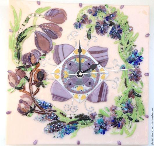 """Часы для дома ручной работы. Ярмарка Мастеров - ручная работа. Купить Часы настенные """"Весна идет!"""". Handmade. handmade, фьюзинг"""