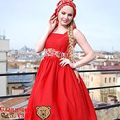 """Одежда ручной работы. Ярмарка Мастеров - ручная работа Сарафан """"Любава"""" летний красный + платок. Handmade."""