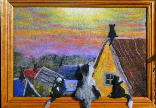 Животные ручной работы. Ярмарка Мастеров - ручная работа. Купить Картина из шерсти  Коты на крыше. Handmade. Разноцветный, картина из шерсти