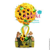 Цветы и флористика ручной работы. Ярмарка Мастеров - ручная работа Подарок бабушке Топиарий дерево счастья. дерево из цветов подсолнух. Handmade.