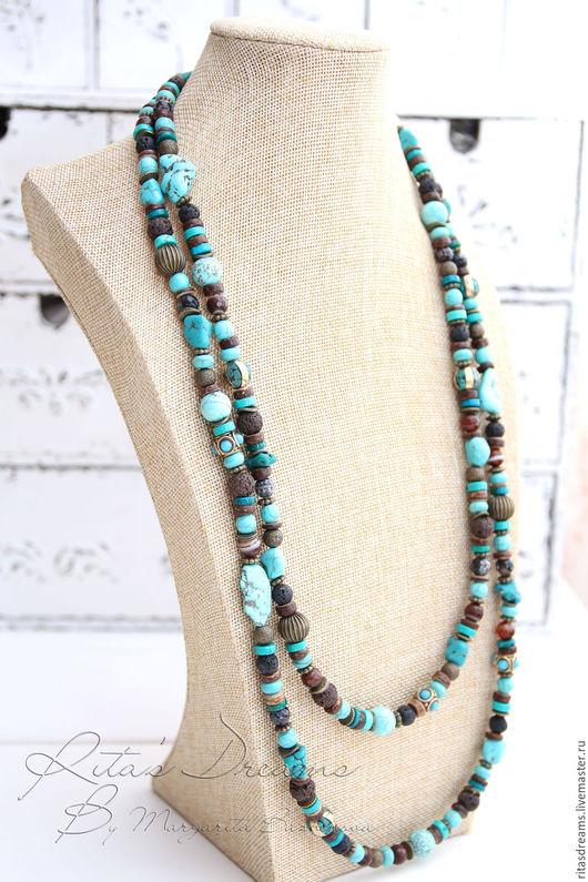 длинные бусы бирюза, бирюзовые украшения бусы, бусы в стиле бохо бирюза, коричнево-голубой бусы, украшения в стиле бохо