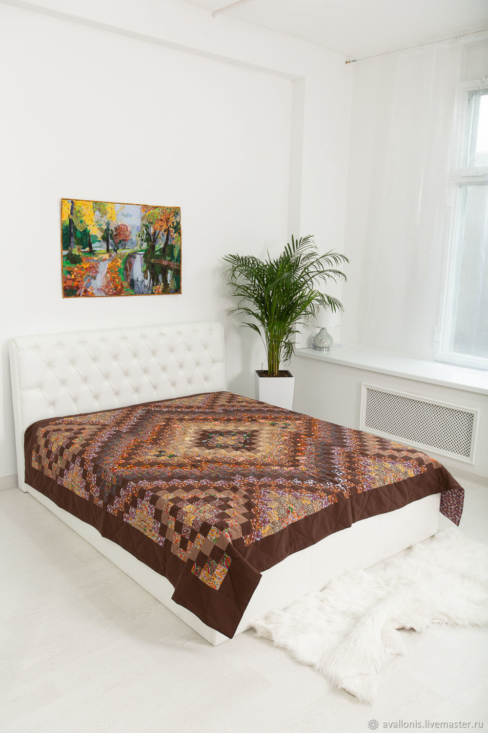 Brown 220x225cm CUSTOM patchwork double bedspread, Blankets, Moscow,  Фото №1