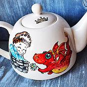 """Посуда ручной работы. Ярмарка Мастеров - ручная работа Чайник """"Сладкая парочка - Принцессы и драконы"""". Handmade."""