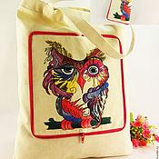 Сумки и аксессуары handmade. Livemaster - original item Shopper bag,shopping bag,bag convertible,owl,embroidered bag,ecosumo. Handmade.