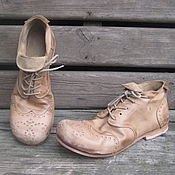 Обувь ручной работы. Ярмарка Мастеров - ручная работа Броги из натуральной кожи Бежевые. Handmade.