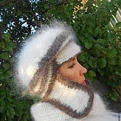 Аксессуары ручной работы. Ярмарка Мастеров - ручная работа шапка с ушками в полоску. Handmade.