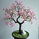 Дерево из бисера Сакура. Дерево для интерьера. Авторская ручная работа. Сад на ладони. Ярмарка мастеров.