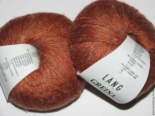"""Вязание ручной работы. Ярмарка Мастеров - ручная работа. Купить Пряжа  Lang Yarns """" Greina """". Handmade. Рыжий"""