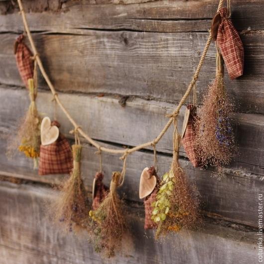 """Интерьерные композиции ручной работы. Ярмарка Мастеров - ручная работа. Купить Интерьерное украшение гирлянда из сухоцветов и саше """" Country living"""". Handmade."""