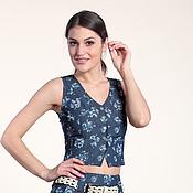 Одежда ручной работы. Ярмарка Мастеров - ручная работа 274: Женская жилетка из легкой джинсы, летняя жилетка, летний топ. Handmade.