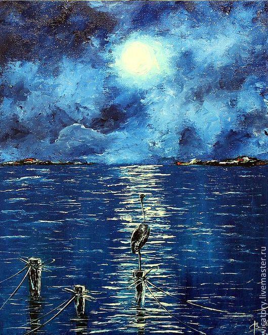 """Пейзаж ручной работы. Ярмарка Мастеров - ручная работа. Купить """"Цапля Млечного пути"""" картина, масло. Handmade. Тёмно-синий"""
