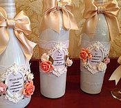 Свадебный салон ручной работы. Ярмарка Мастеров - ручная работа Свадебные бутылки. Handmade.