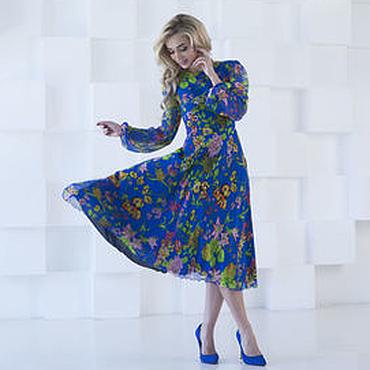 Одежда ручной работы. Ярмарка Мастеров - ручная работа Летнее платье из шифона, синее цветочное платье. Handmade.