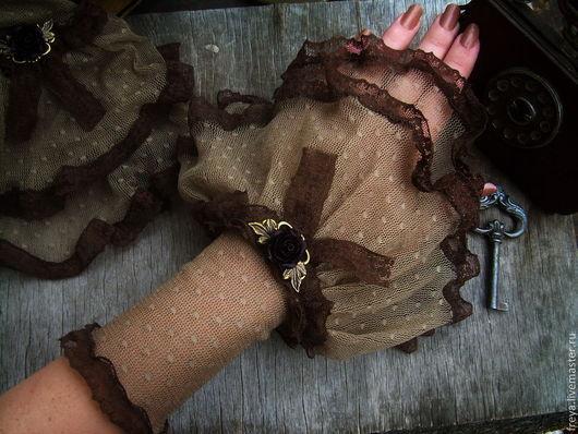 """Варежки, митенки, перчатки ручной работы. Ярмарка Мастеров - ручная работа. Купить Манжеты """" Cacao"""". Handmade. Манжеты, кружево"""