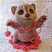 Куклы и игрушки ручной работы. Ярмарка Мастеров - ручная работа войлочный котёнок Клубочек. Handmade.