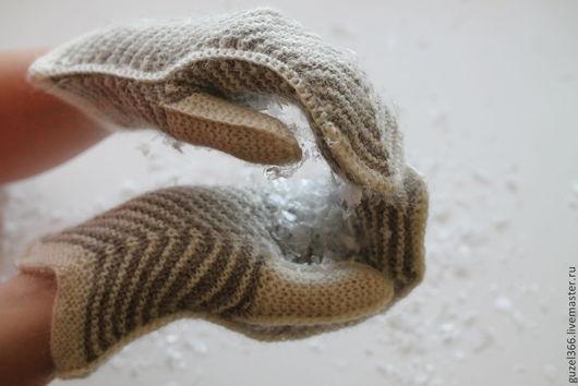 пуховые варежки ручной работы из пряжи ручного прядения из козьего пуха
