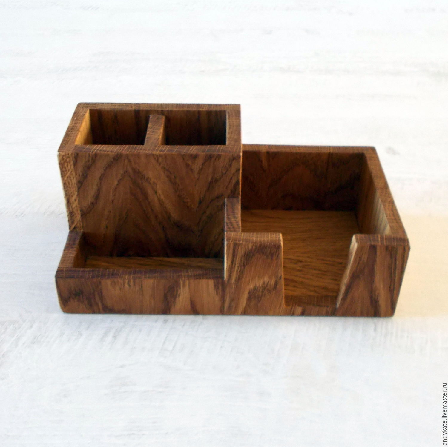 wooden desktop organizer made from oak