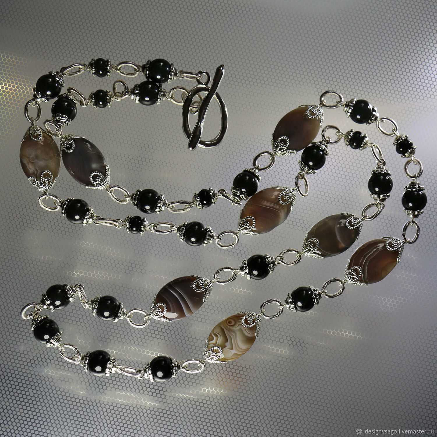 Long chain necklace with agate Botswana, Necklace, Moscow,  Фото №1