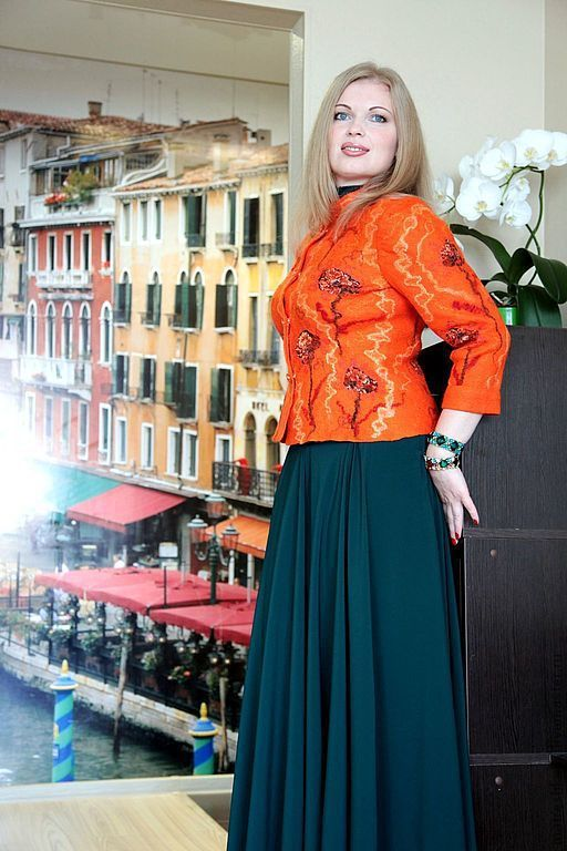 """Пиджаки, жакеты ручной работы. Ярмарка Мастеров - ручная работа. Купить Жакет валяный """"Венеция"""". Handmade. Рыжий, жакет войлочный"""