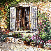 Картины и панно handmade. Livemaster - original item Cozy floral courtyard European streets. Handmade.